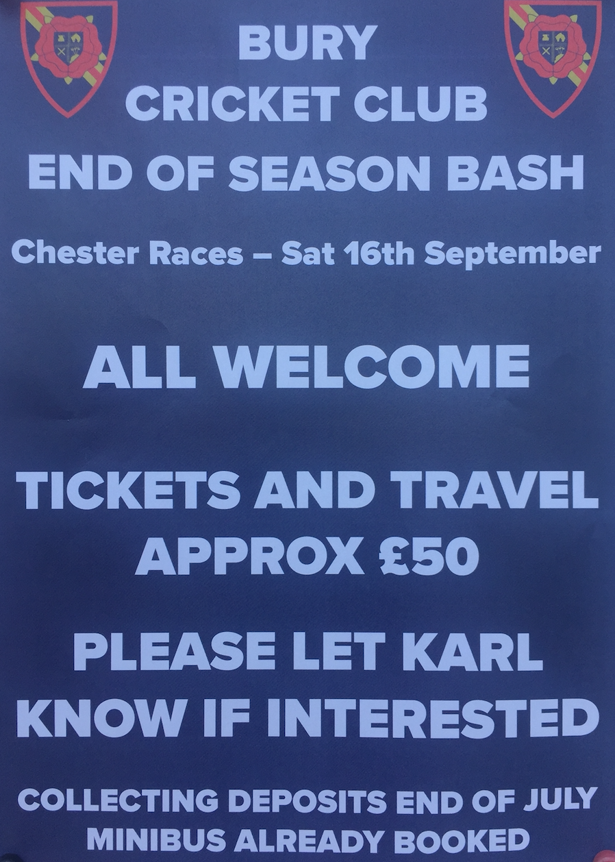 Bury Cricket Club end of season bash