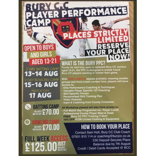 Bury CC Junior Player Performance Camp