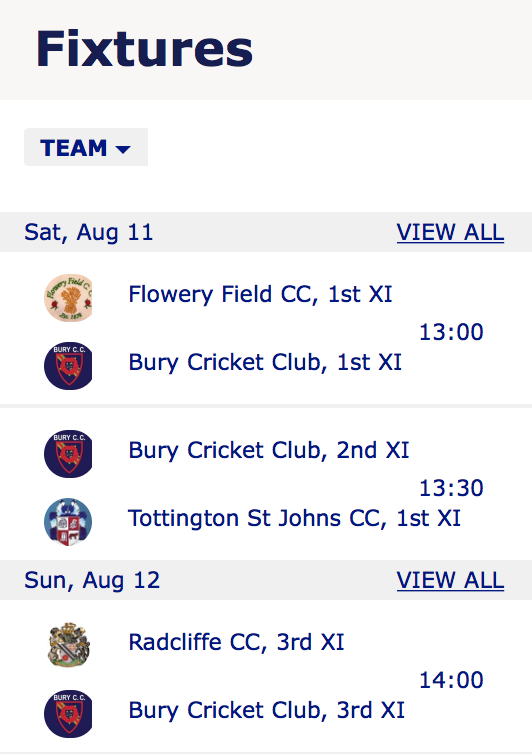 This Weekends Fixtures