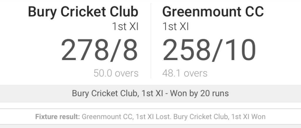 Greenmount CC 1st XI  v. Bury CC 1st XI 1st June 2019