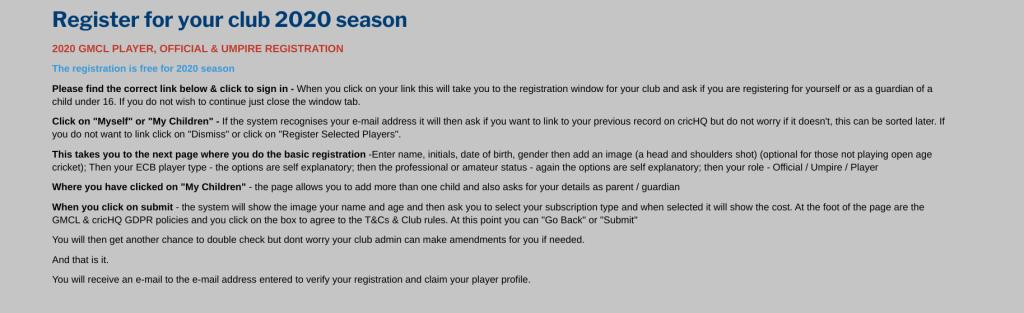 2020 Player Registration